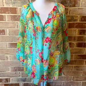 Fig and Flower Paisley Sheer Long Sleeve Top